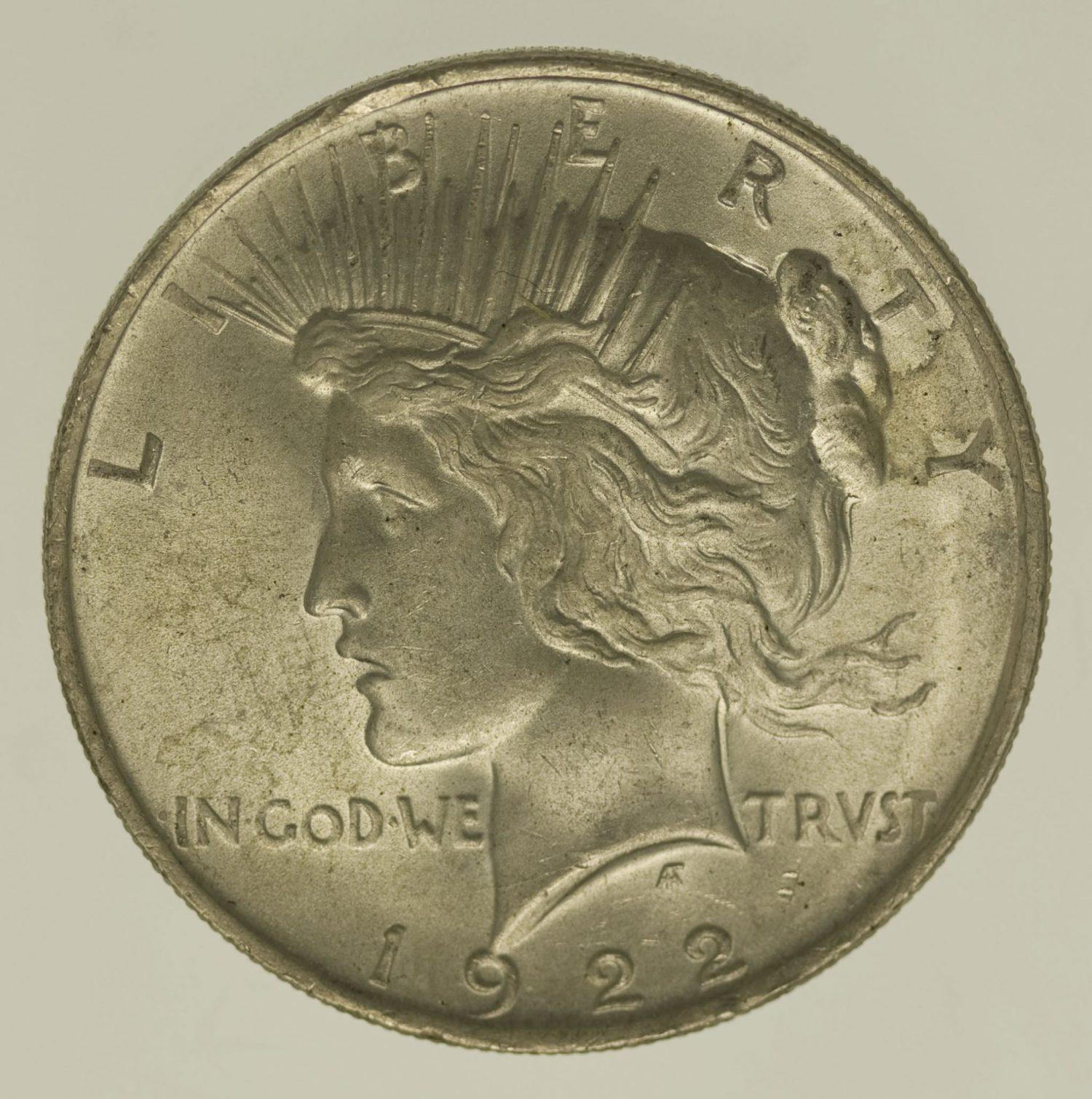 usa-silbermuenzen-uebrige-welt - USAPeace Dollar 1922
