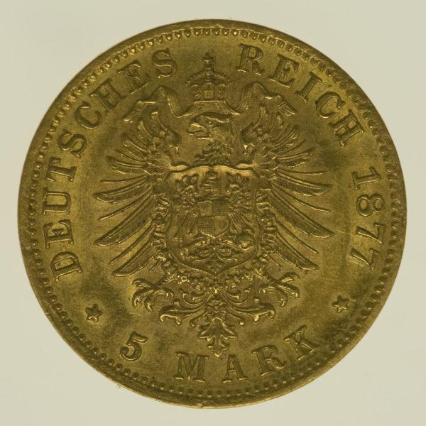 deutsches-kaiserreich-ab-1871 - Württemberg Karl 5 Mark 1877