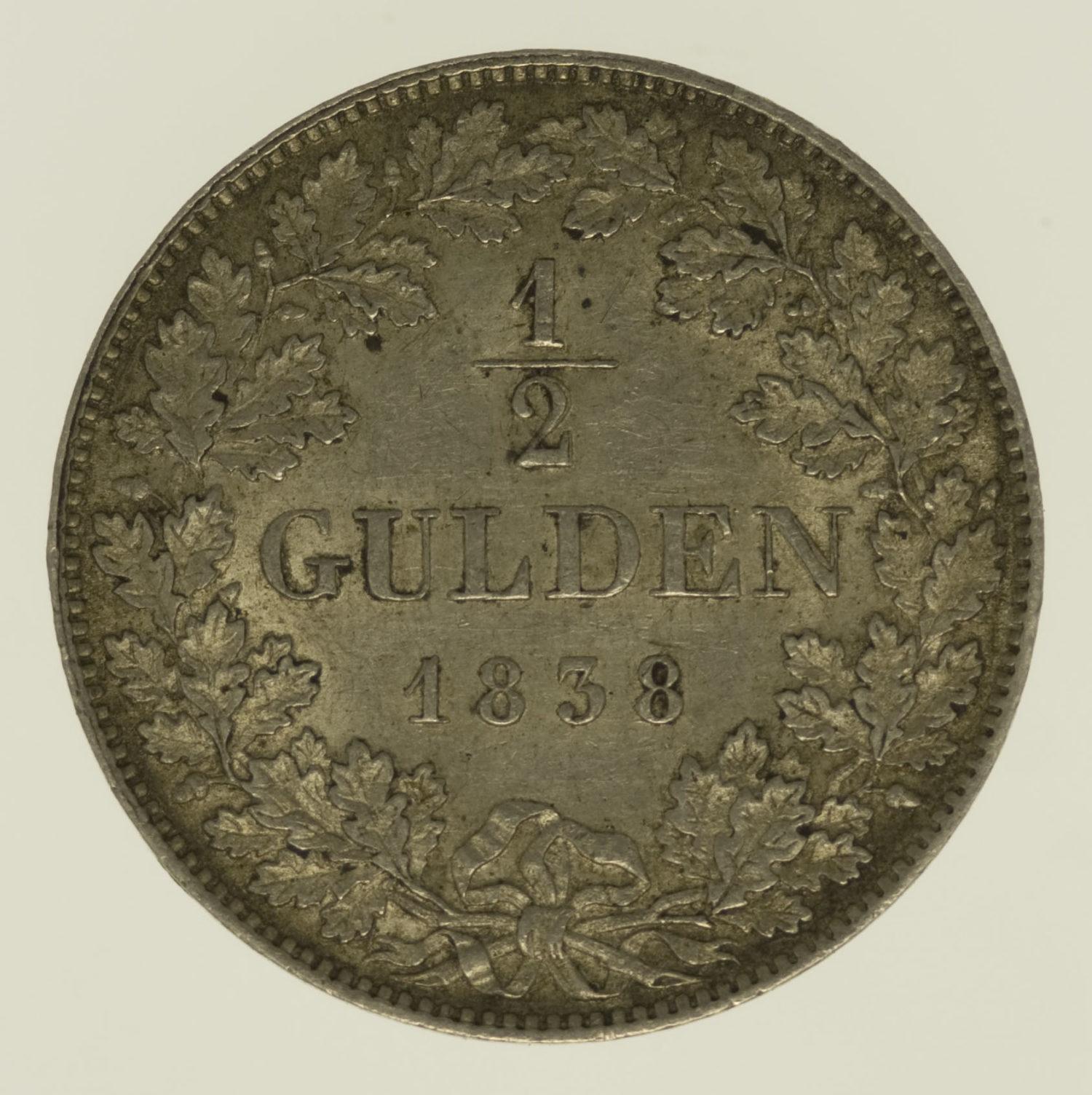 altdeutschland-deutsche-silbermuenzen - Württemberg Wilhelm I. 1/2 Gulden 1838