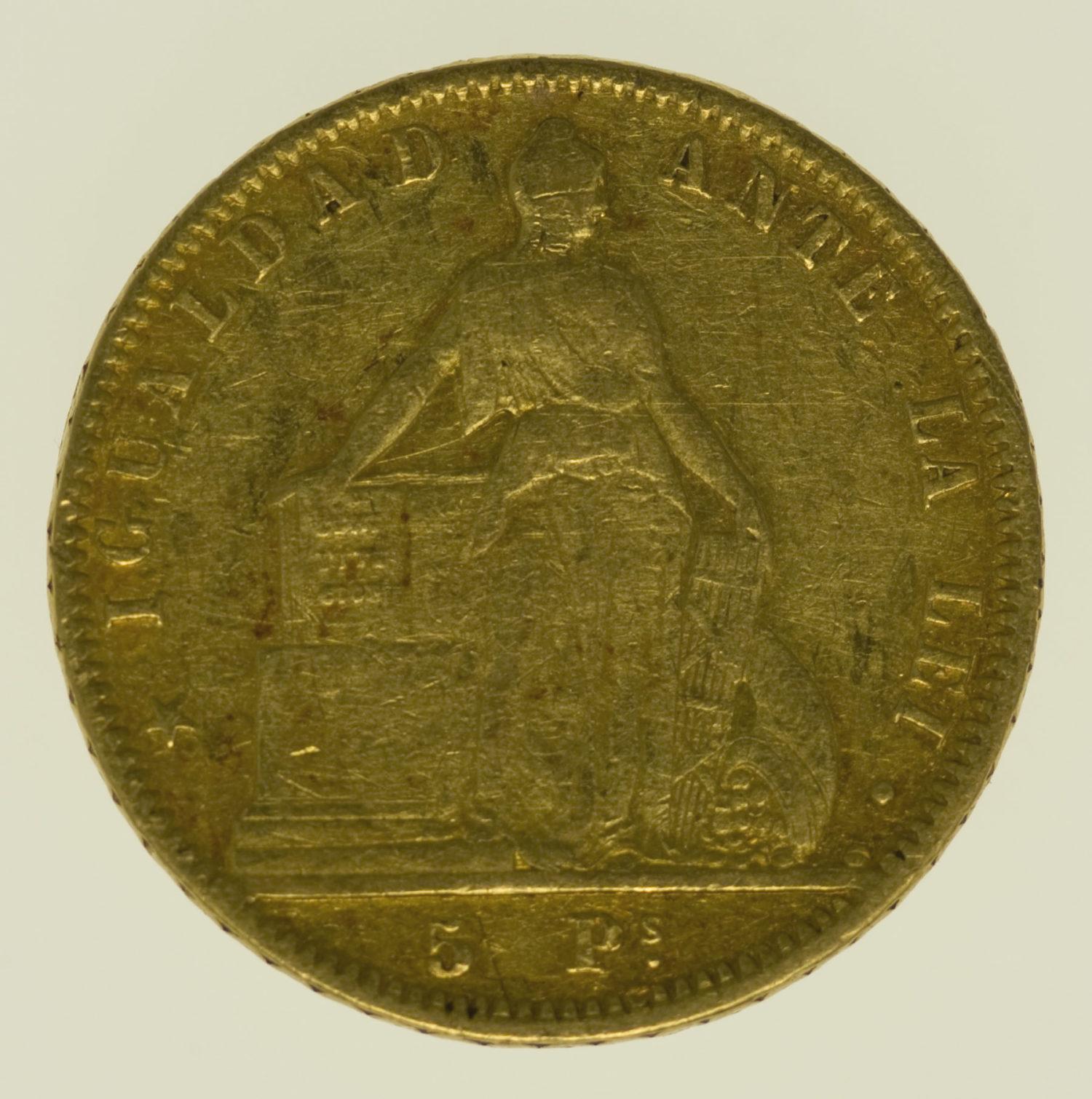 chile - Chile 5 Pesos 1857