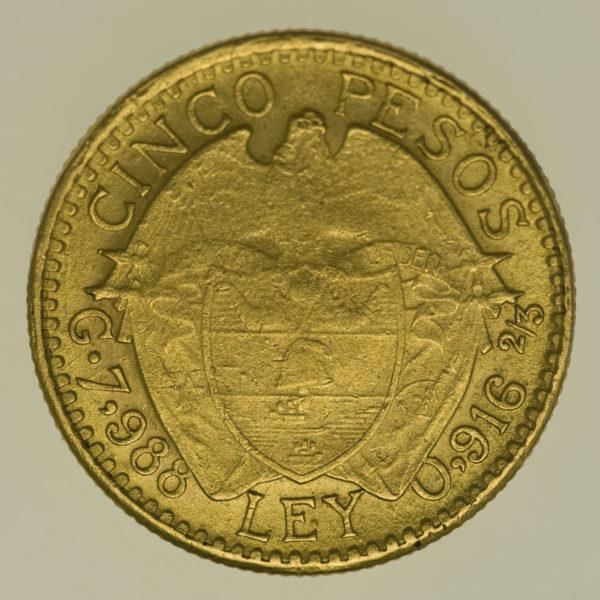 kolumbien - Kolumbien 5 Pesos 1919