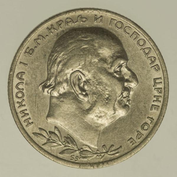 montenegro-silbermuenzen-uebriges-europa - Montenegro Nikolaus I. 1 Perper 1914