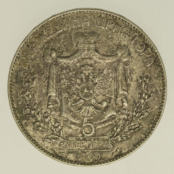 montenegro-silbermuenzen-uebriges-europa - Montenegro Nikolaus I. 5 Perpera 1909