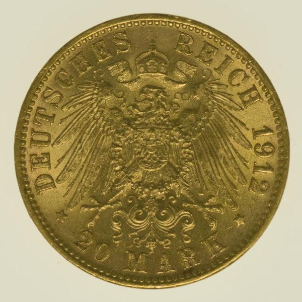 deutsches-kaiserreich-ab-1871 - Preussen Wilhelm II.20 Mark1912 J