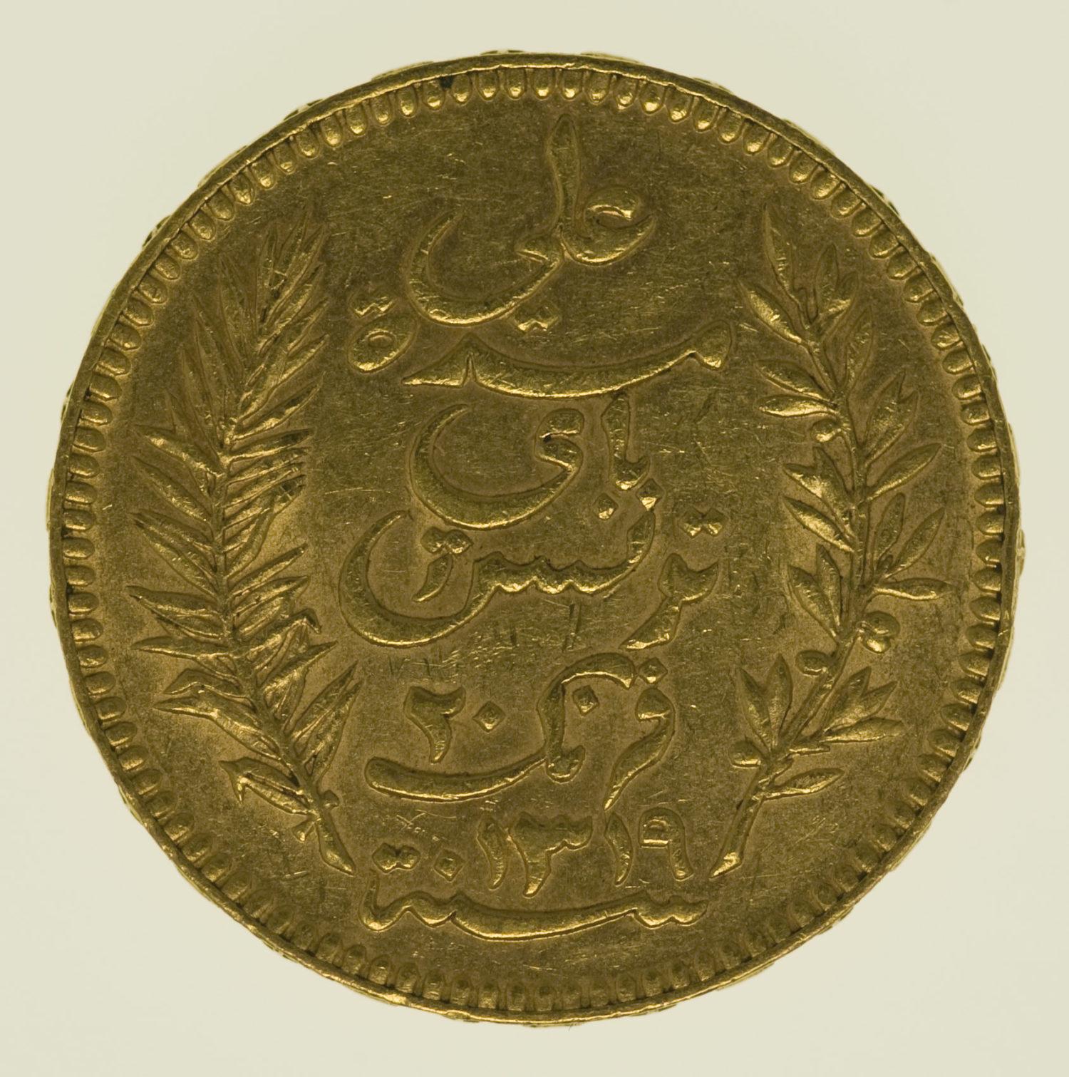 tunesien - Tunesien Ali Bey 20 Francs 1901