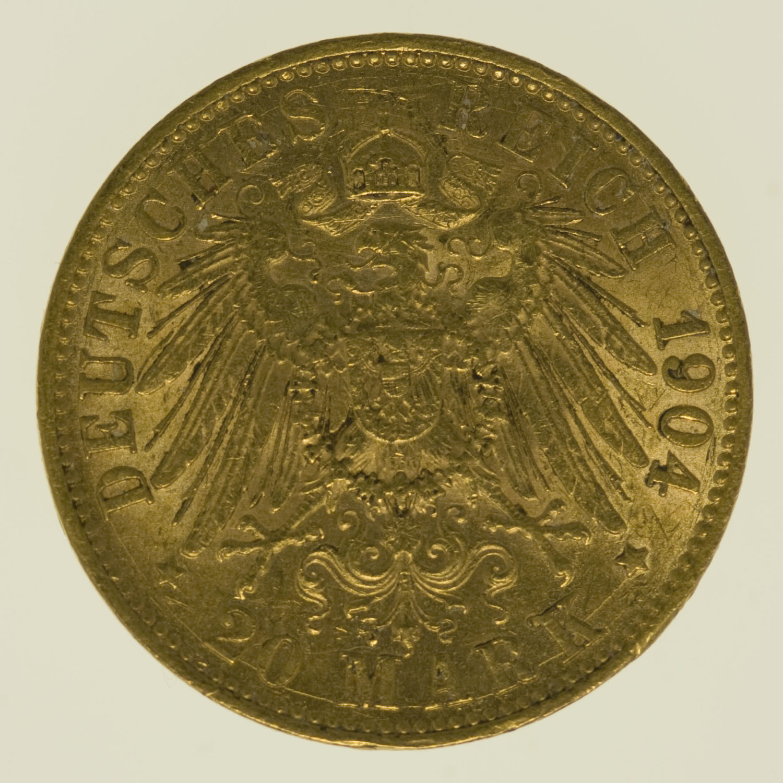 deutsches-kaiserreich-ab-1871 - Anhalt Friedrich II. 20 Mark 1904