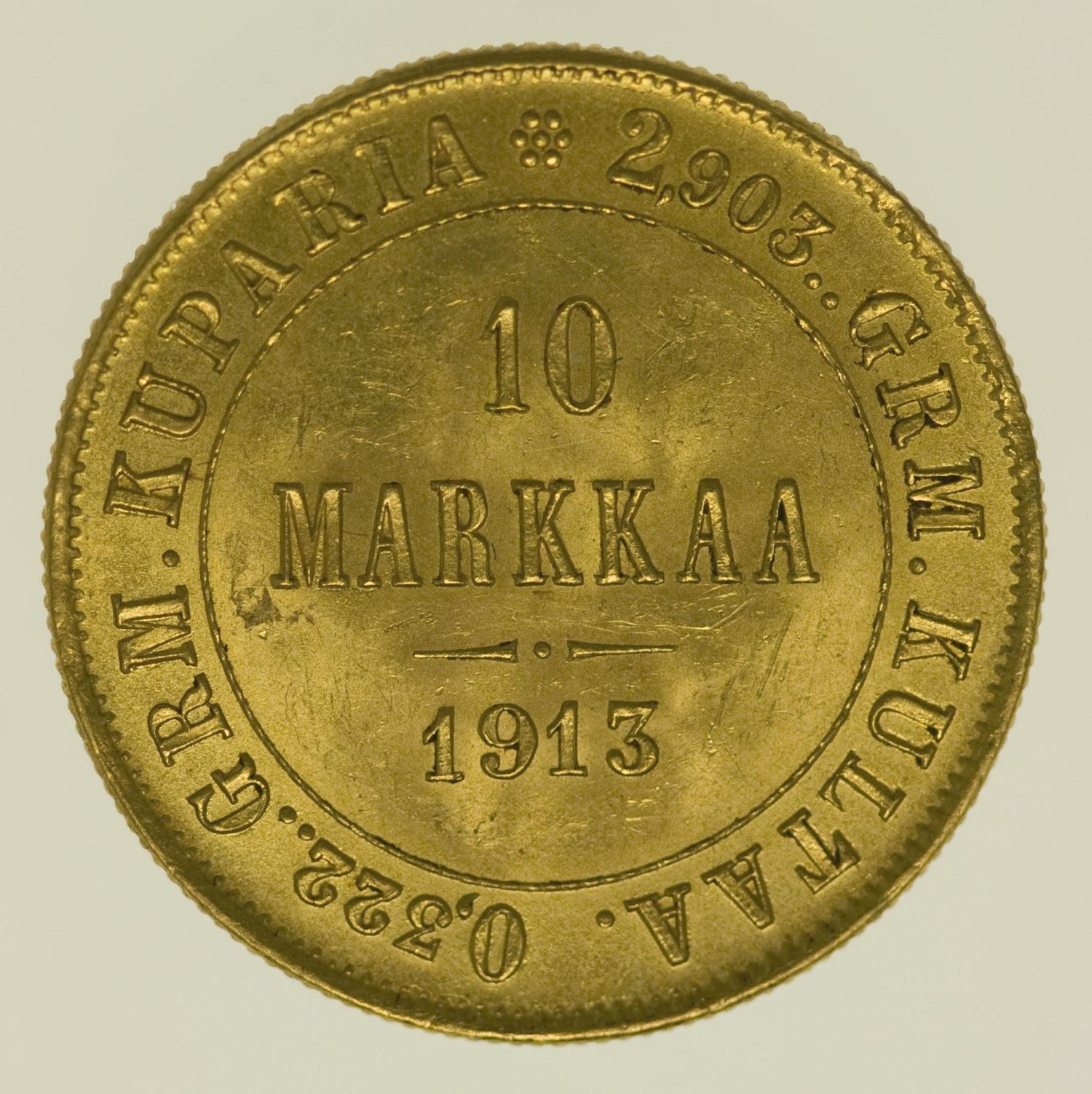 finnland - Finnland Nikolaus II. 10 Markkaa 1913