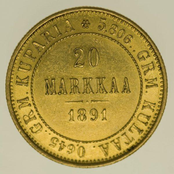 finnland - Finnland Alexander III. 20 Markkaa 1891