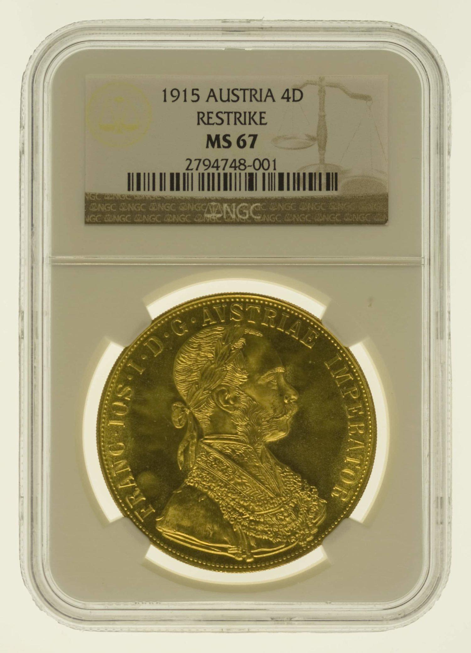 oesterreich - Österreich Kaiserreich Franz Joseph I. 4 Dukaten 1915 NP