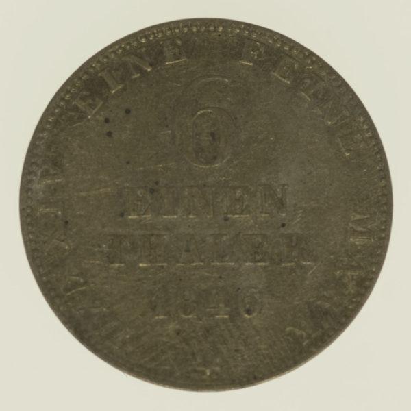 altdeutschland-deutsche-silbermuenzen - Oldenburg Paul Friedrich August 1/6 Taler 1846