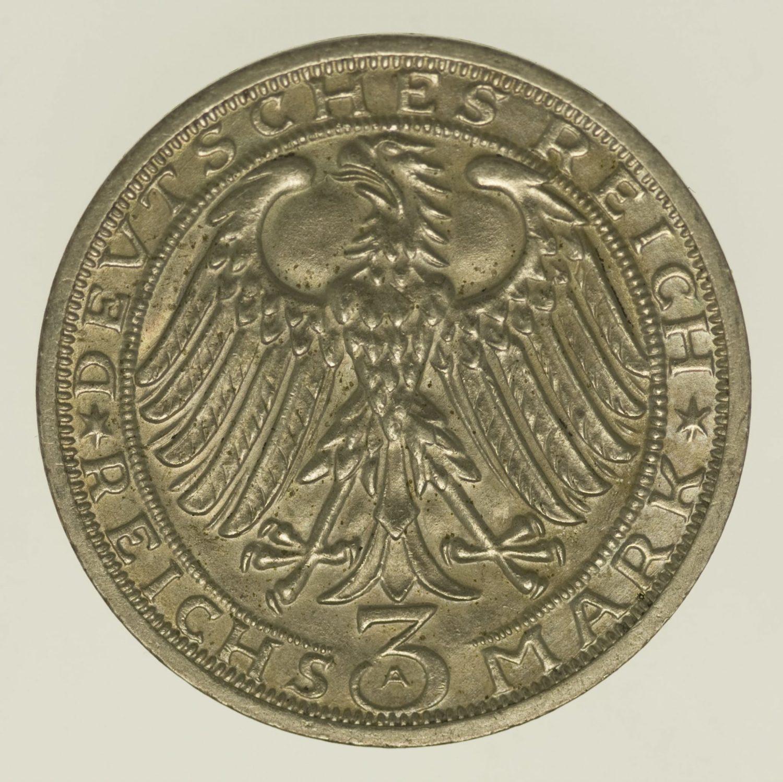 weimarer-republik-deutsche-silbermuenzen - Weimarer Republik 3 Reichsmark 1928 Naumburg