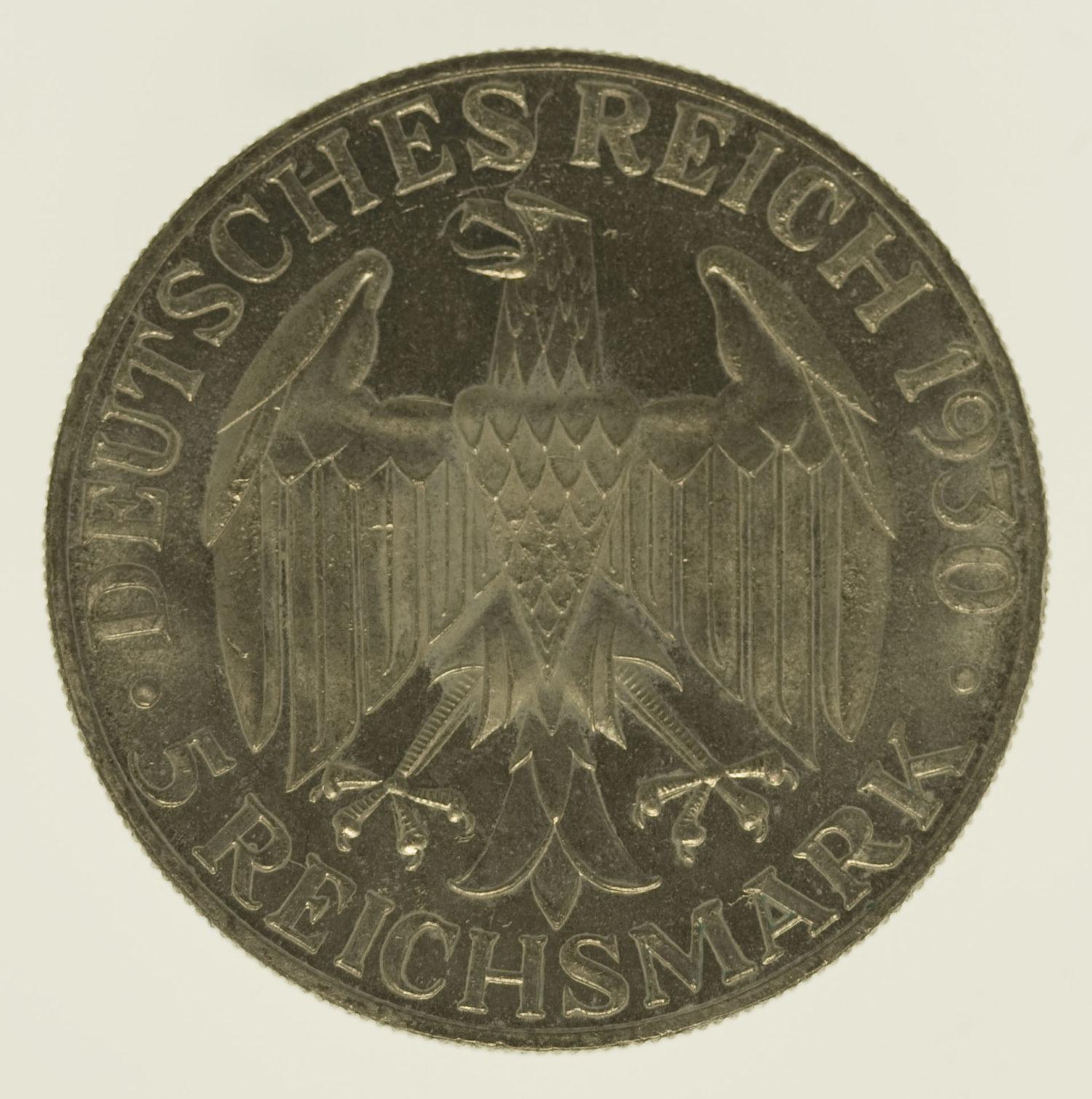 weimarer-republik-deutsche-silbermuenzen - Weimarer Republik 5 Reichsmark 1930 D Zeppelin