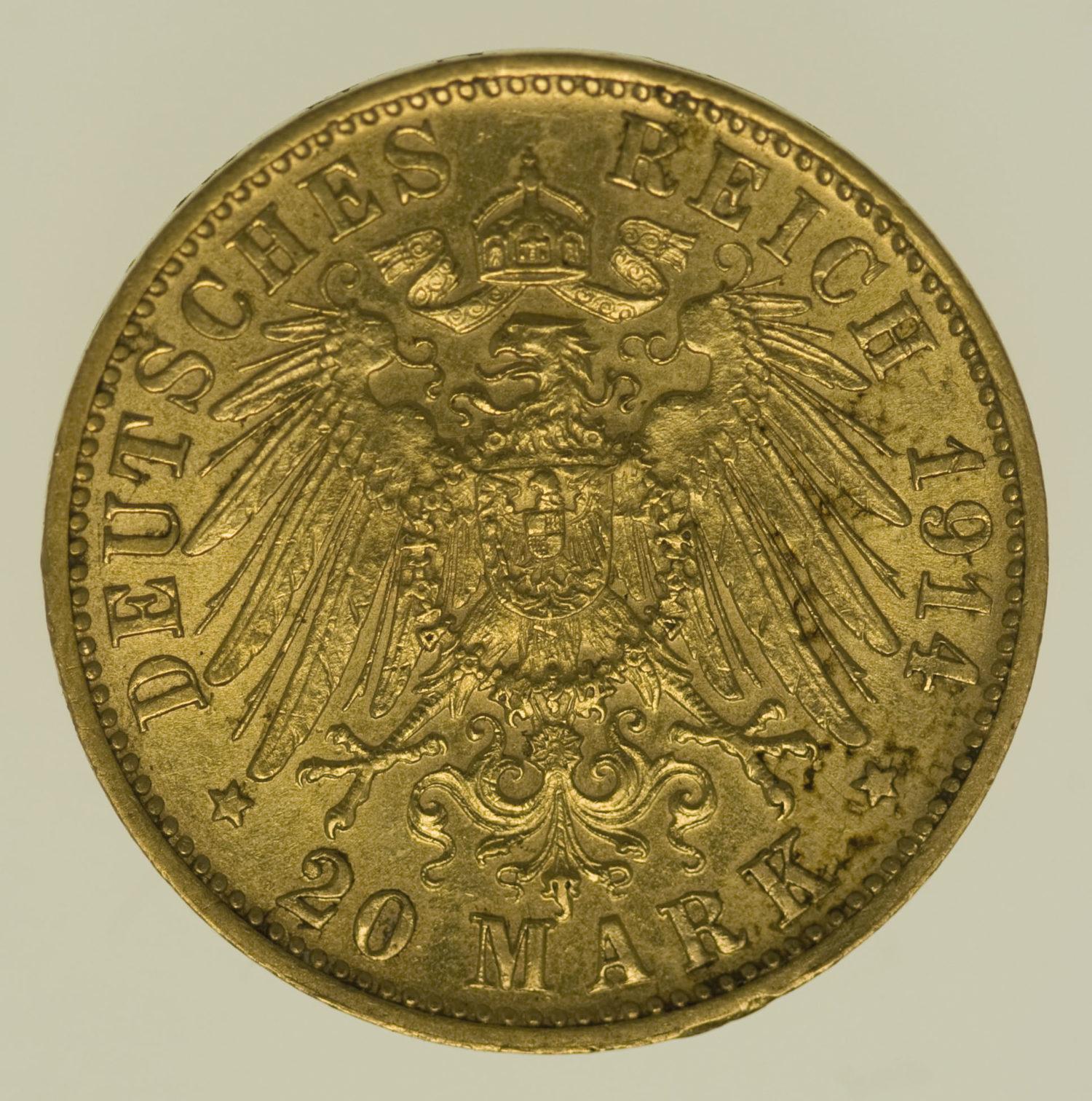 deutsches-kaiserreich-ab-1871 - Bayern Ludwig III. 20 Mark 1914