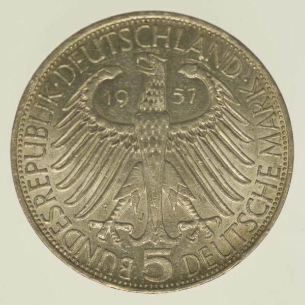 brd-deutsche-silbermuenzen - BRD 5 Mark 1957 von Eichendorff