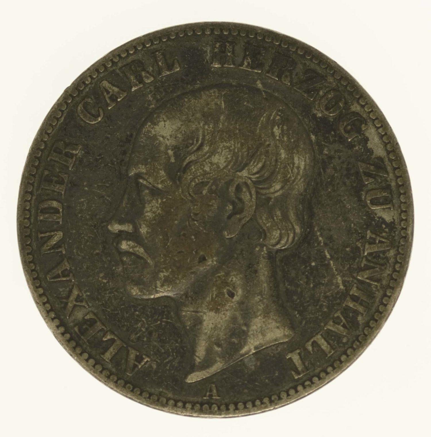 altdeutschland-deutsche-silbermuenzen - Anhalt Bernburg Alexander Carl Vereinstaler 1859