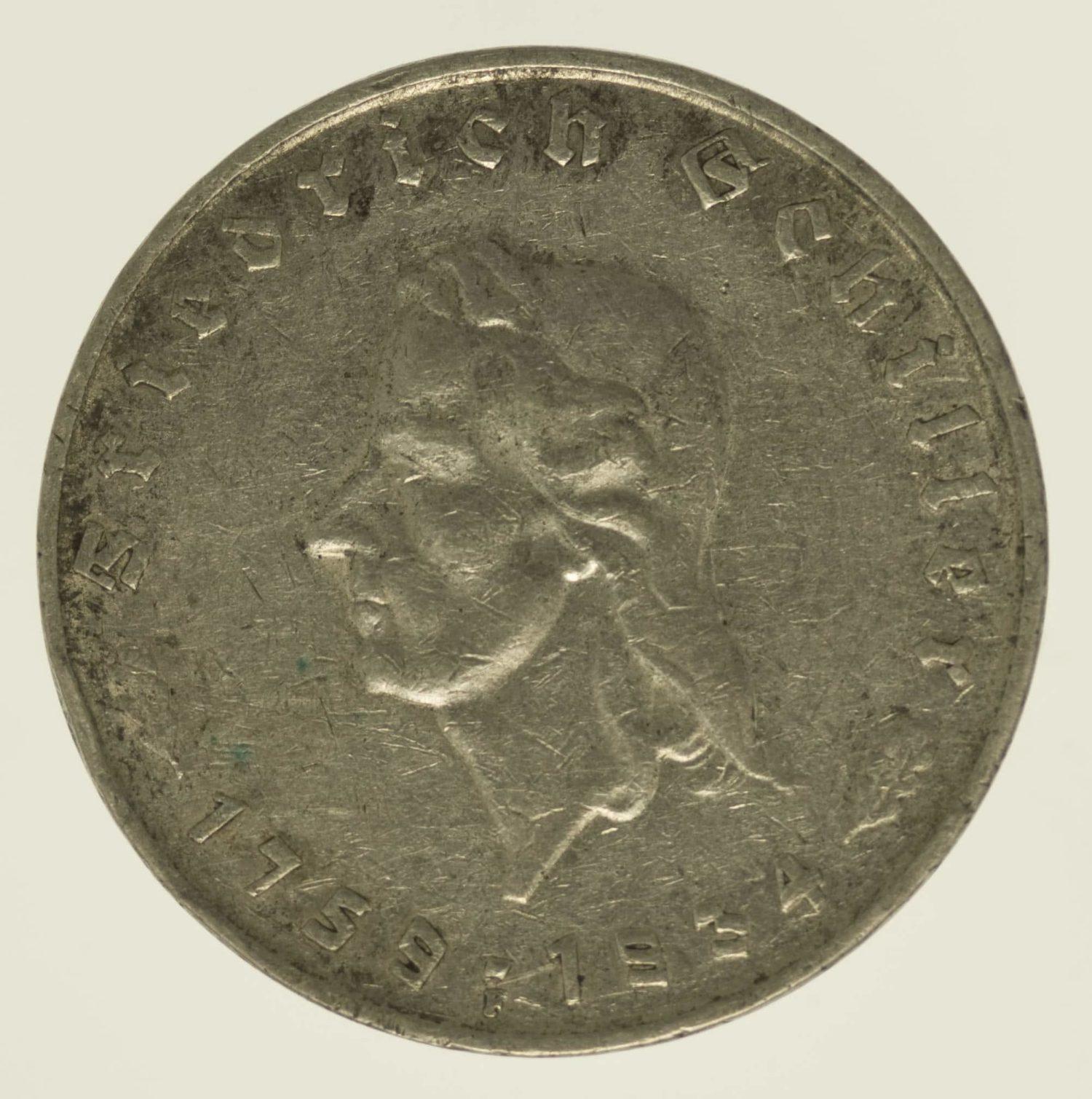 drittes-reich-deutsche-silbermuenzen - Drittes Reich 5 Reichsmark 1934 von Schiller