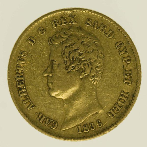 italien - Italien Sardinien Karl Albert 20 Lire 1836