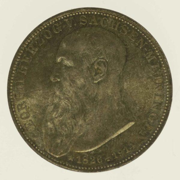 deutsches-kaiserreich-ab-1871-deutsche-silbermuenzen - Sachsen Meiningen Georg II. 3 Mark 1915