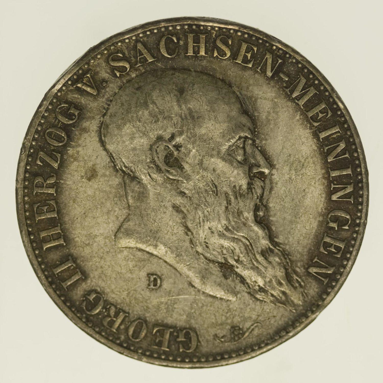 deutsches-kaiserreich-ab-1871-deutsche-silbermuenzen - Sachsen Meiningen Georg II. 5 Mark 1901