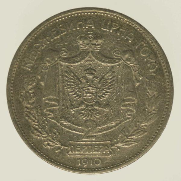 montenegro-silbermuenzen-uebriges-europa - Montenegro Nikolaus I. 2 Perpera 1910