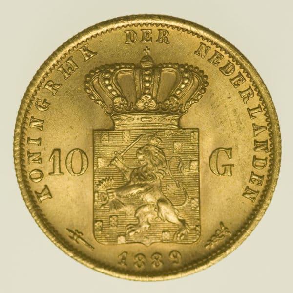 niederlande - Niederlande Wilhelm III. 10 Gulden 1889