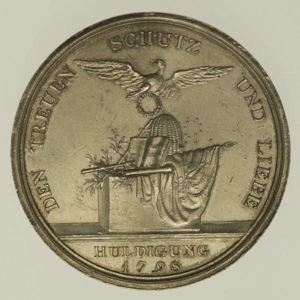 altdeutschland-deutsche-silbermuenzen - Preussen Friedrich Wilhelm III. Silbermedaille 1798