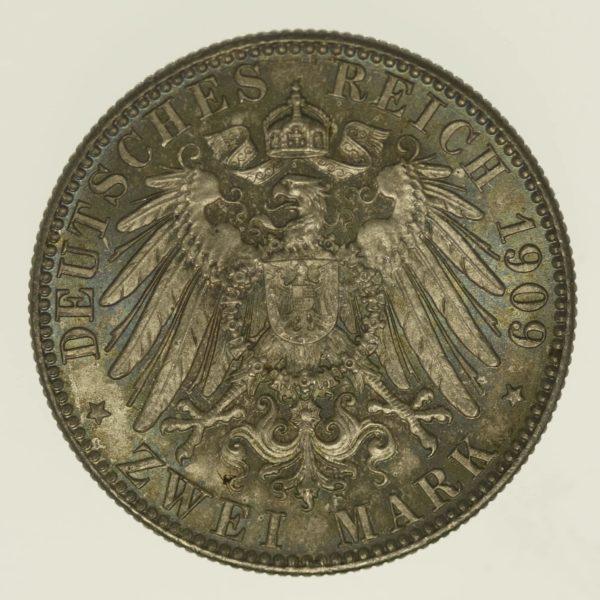 deutsches-kaiserreich-ab-1871-deutsche-silbermuenzen - Sachsen Friedrich August 2 Mark 1909