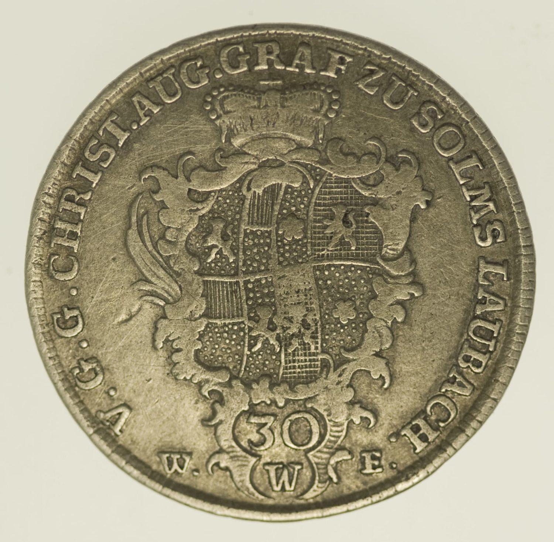 altdeutschland-deutsche-silbermuenzen - Solms Laubach Christian August 30 Kreuzer 1768