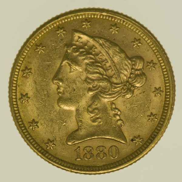 usa - USA 5 Dollars 1880 Liberty / Kopf