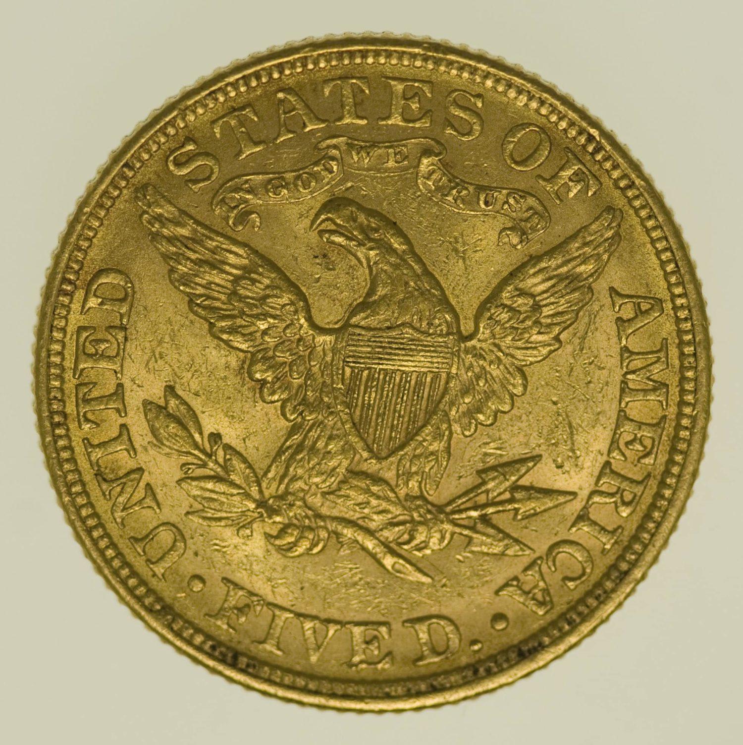usa - USA 5 Dollars 1880 Liberty / Kopf
