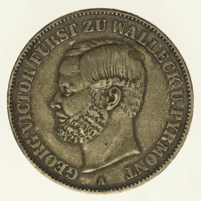 altdeutschland-deutsche-silbermuenzen - Waldeck Pyrmont Georg Victor Vereinstaler 1859