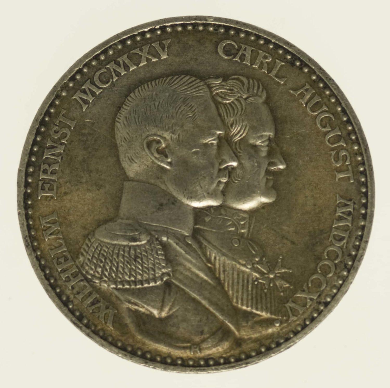 deutsches-kaiserreich-ab-1871-deutsche-silbermuenzen - Sachsen Weimar Eisenach Wilhelm Ernst 3 Mark 1915