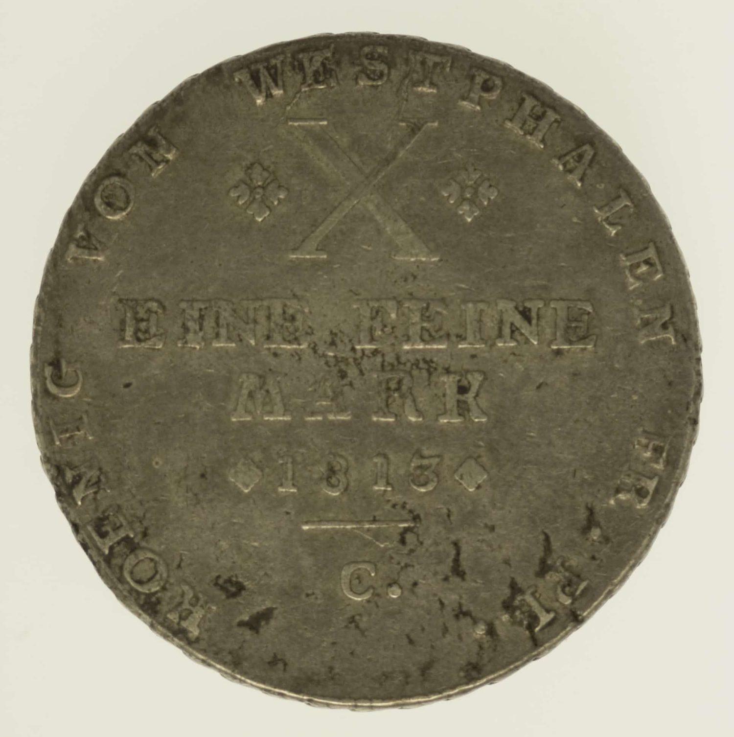altdeutschland-deutsche-silbermuenzen - Westphalen Hieronymus Napoleon Taler 1813