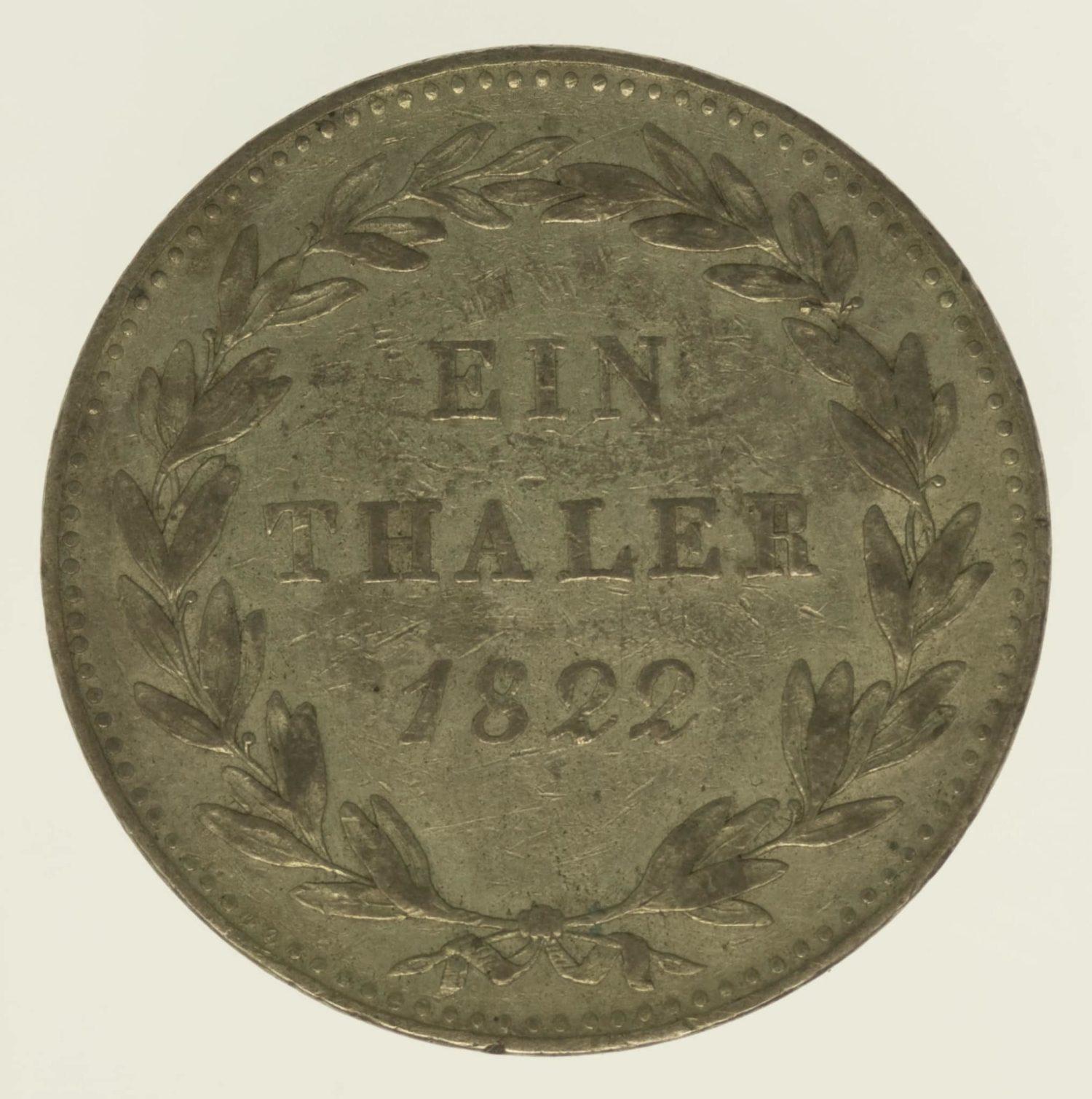 altdeutschland-deutsche-silbermuenzen - Hessen Kassel Wilhelm II. Taler 1822