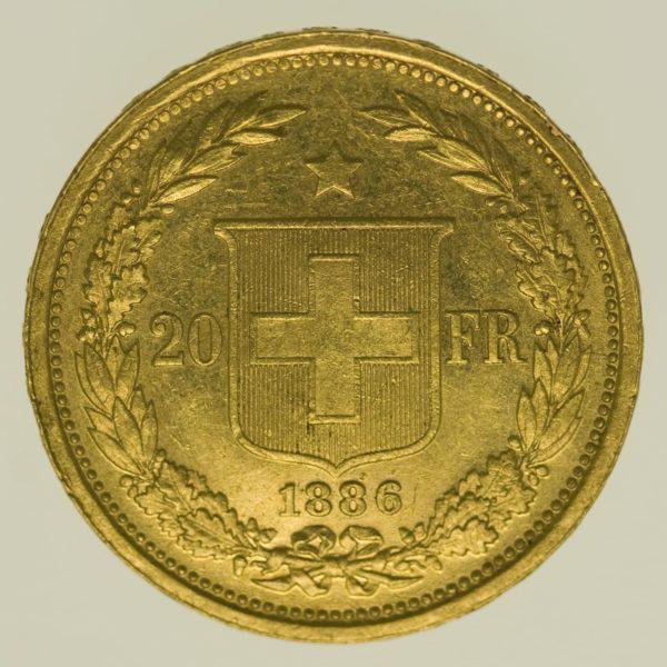 schweiz - Schweiz 20 Franken 1886 Helvetia