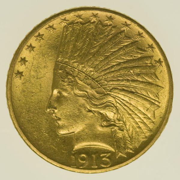 usa - USA 10 Dollars 1913 Indianer