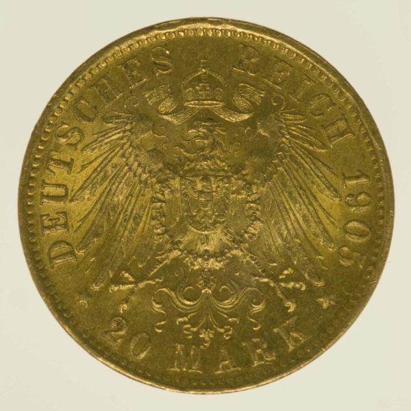 deutsches-kaiserreich-ab-1871 - Württemberg Wilhelm II. 20 Mark 1905