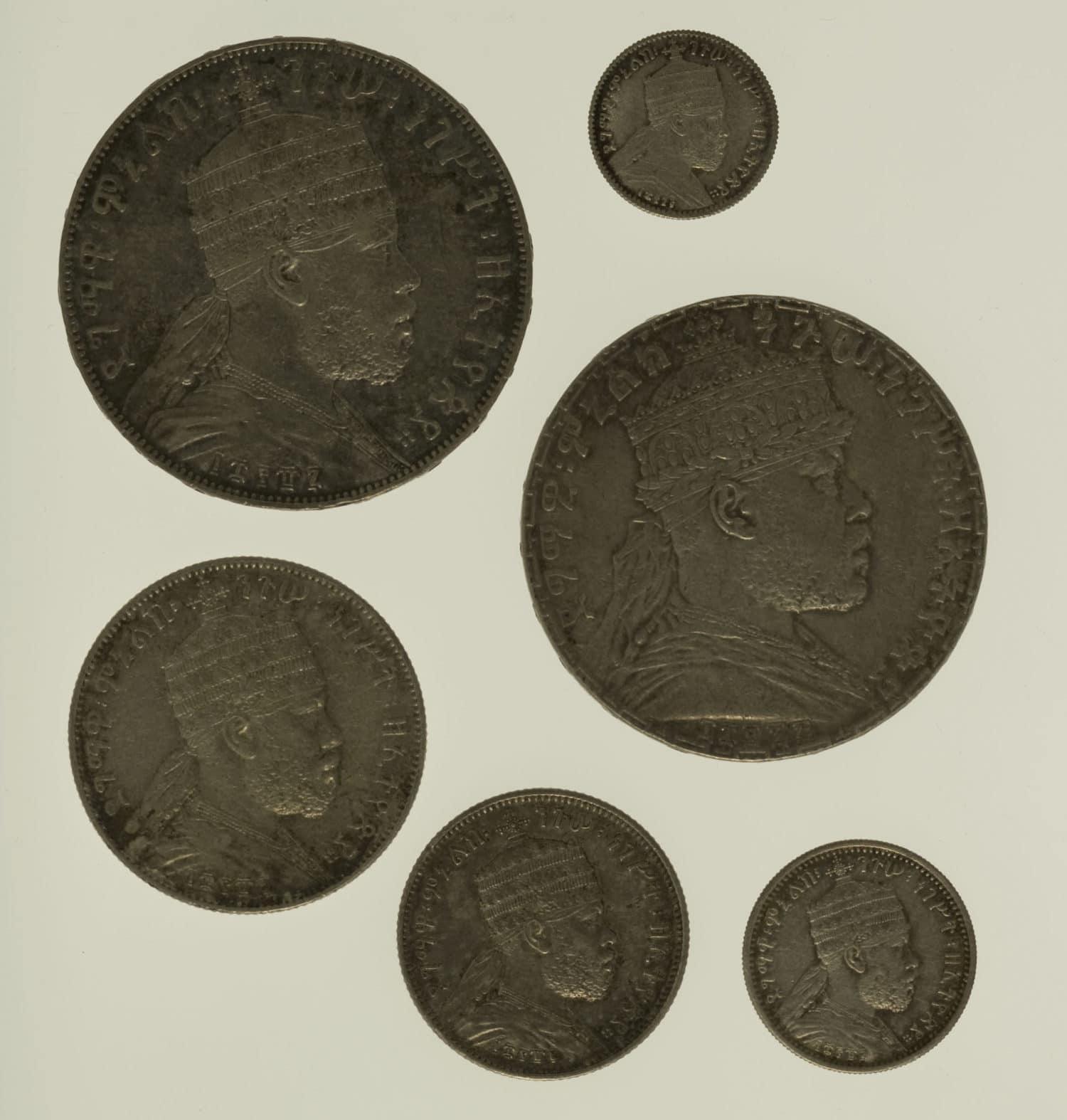 aethiopien-silbermuenzen-uebrige-welt - Äthiopien Menelik II. Lot