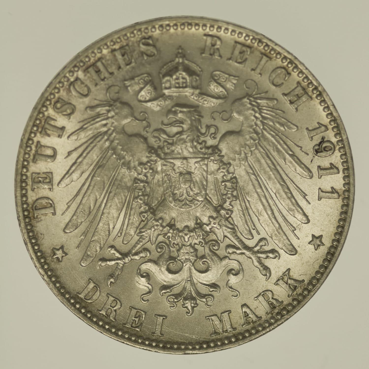 deutsches-kaiserreich-ab-1871-deutsche-silbermuenzen - Bayern Luitpold 3 Mark 1911