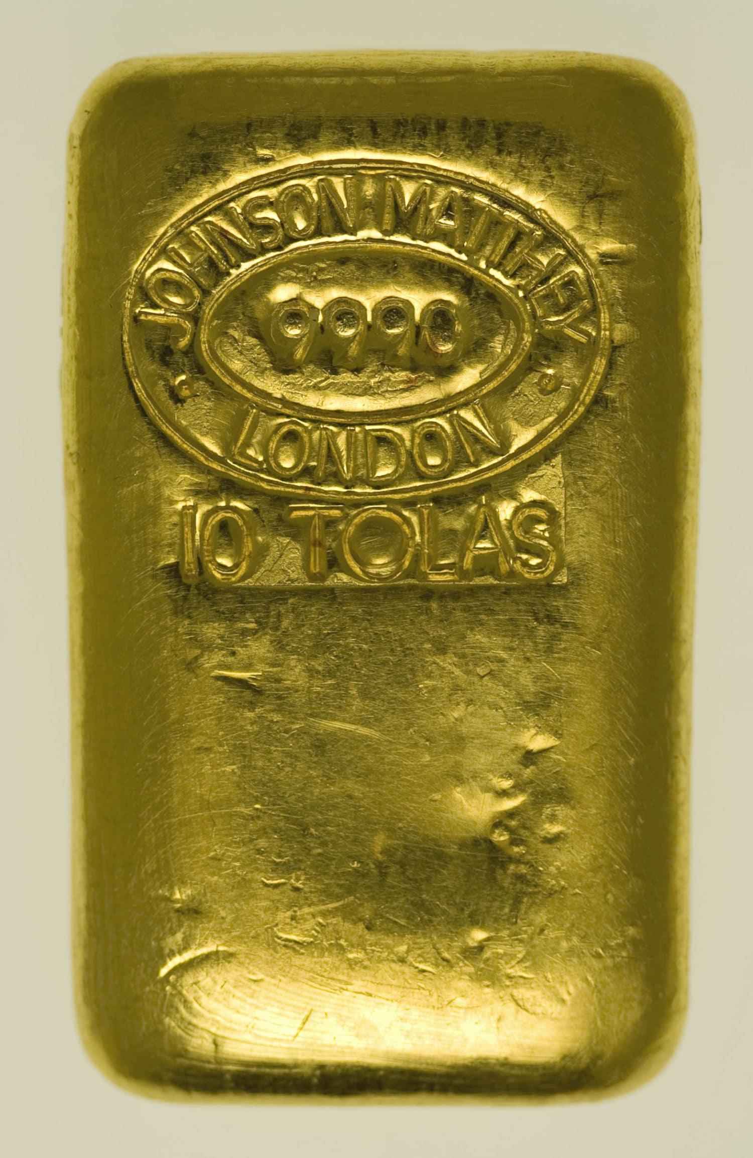 goldbarren - Goldbarren 10 Tolas Johnson Matthey