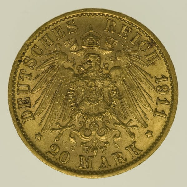 deutsches-kaiserreich-ab-1871 - Hessen Ernst Ludwig 20 Mark 1911