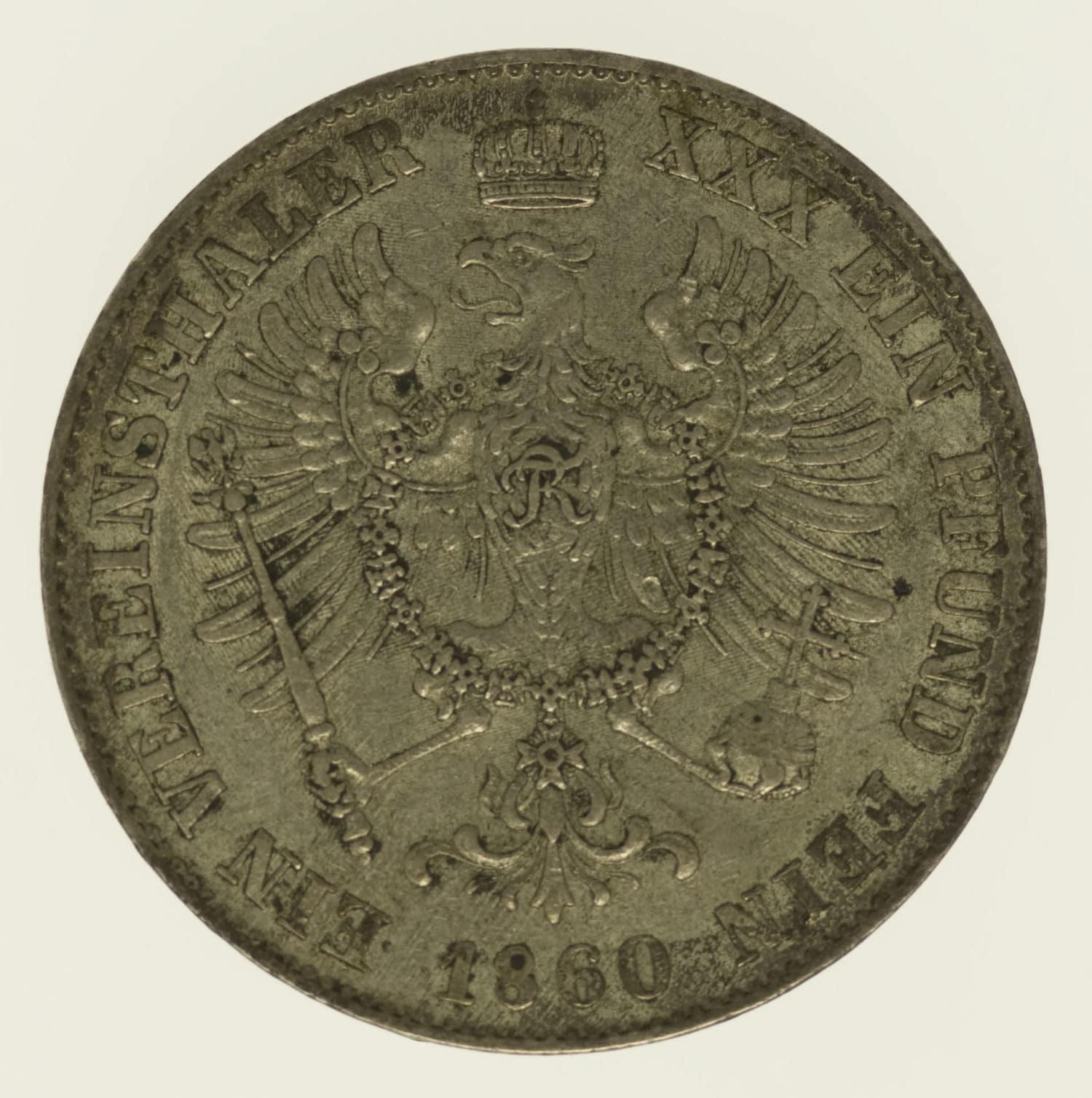 altdeutschland-deutsche-silbermuenzen - Preussen Friedrich Wilhelm IV. Taler 1860
