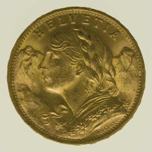 schweiz - Schweiz 20 Franken 1949 B Vreneli Stempeldrehung