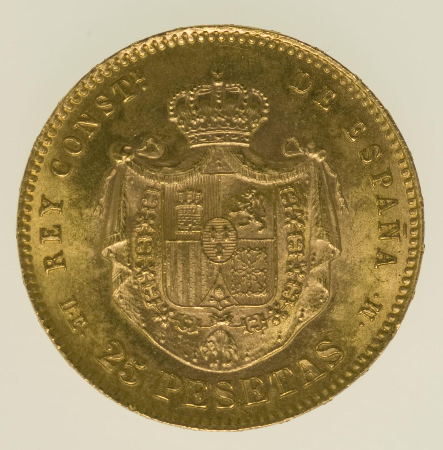 spanien - Spanien Alfonso XII. 25 Pesetas 1876 / 19-62 off. NP