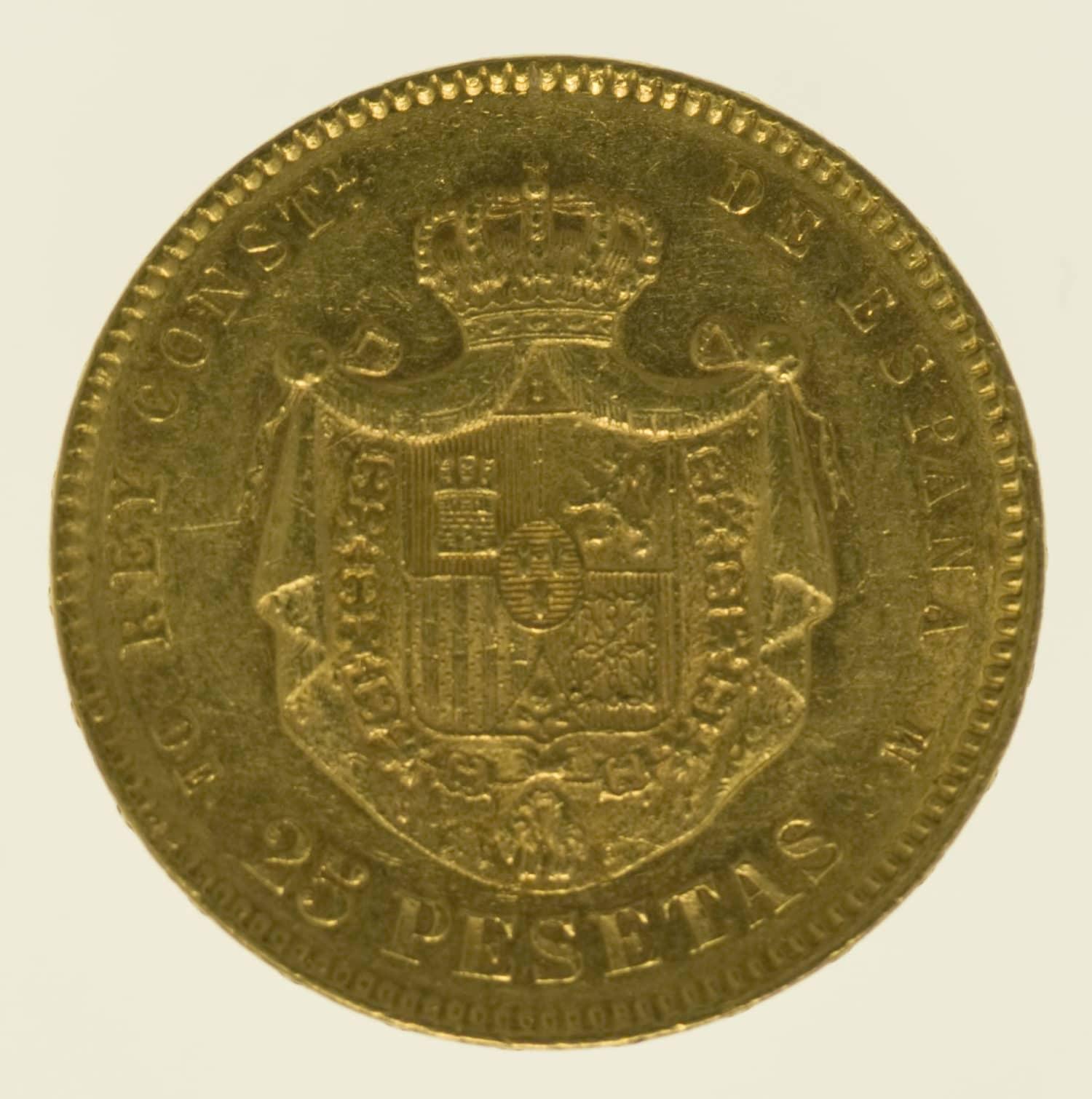 spanien - Spanien Alfonso XII. 25 Pesetas 1877 / 18-77