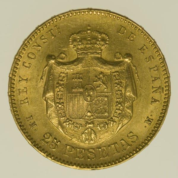 spanien - Spanien Alfonso XII. 25 Pesetas 1879 / 18-79