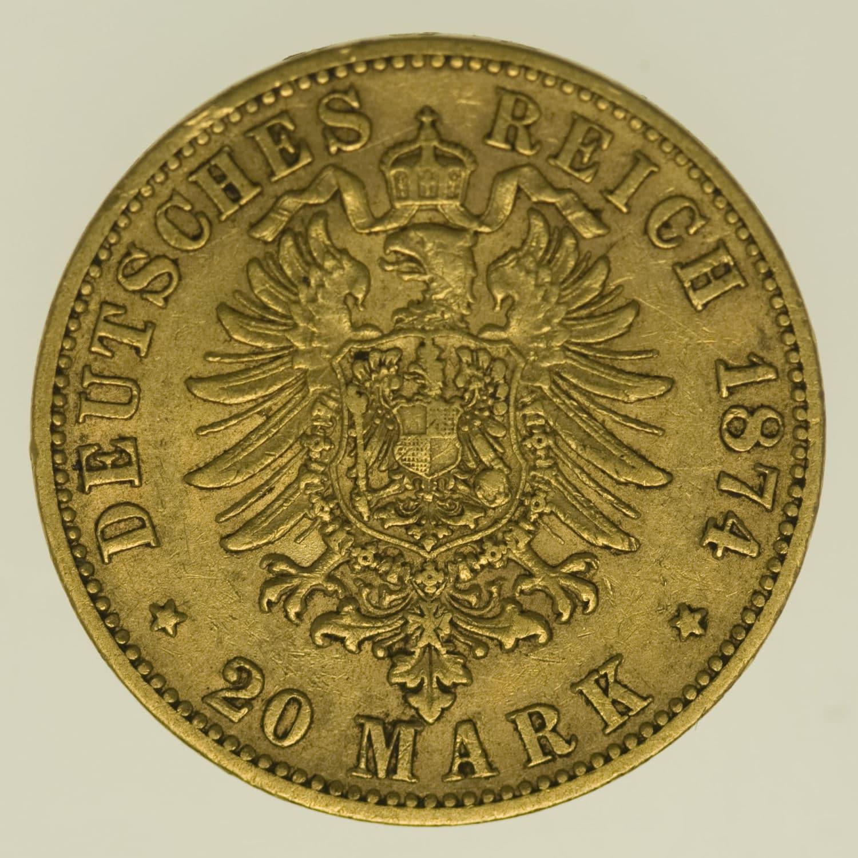 deutsches-kaiserreich-ab-1871 - Württemberg Karl 20 Mark 1874
