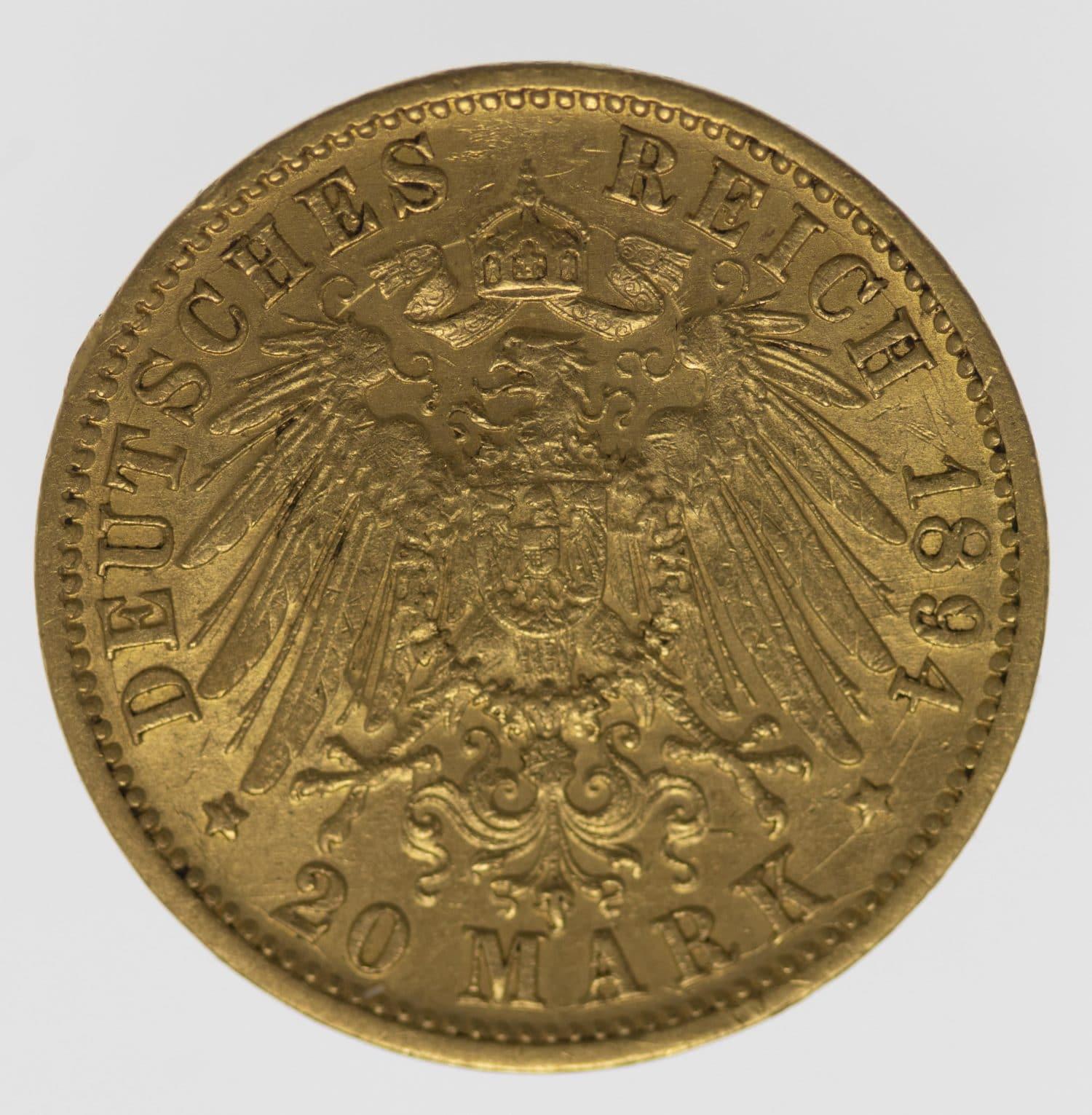 deutsches-kaiserreich-ab-1871 - Baden Friedrich I. 20 Mark 1894