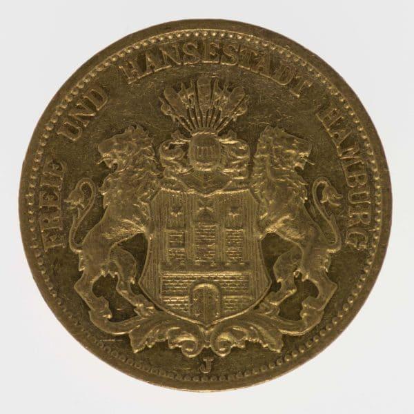 deutsches-kaiserreich-ab-1871 - Hamburg Stadtwappen 20 Mark 1878