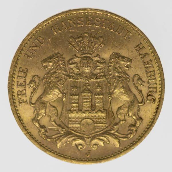 allgemein - Sonderaktion: Kaiserreich 20 Mark Gold aus Hamburg